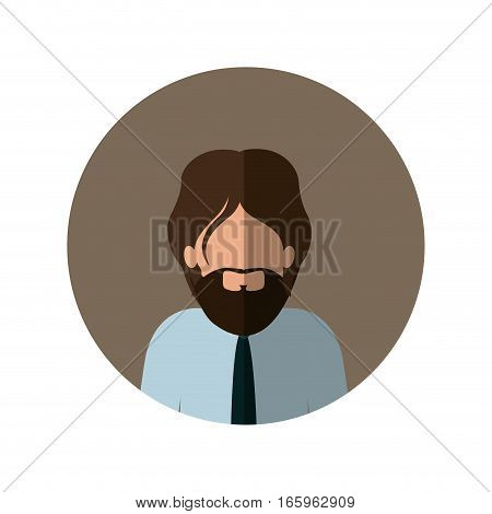 circle with half body man with beard and tie and middle shadow vector illustration