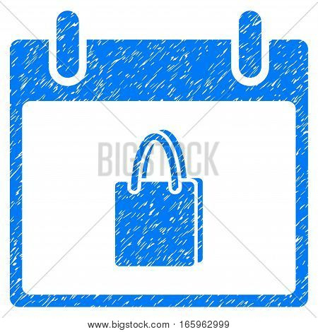 Shopping Bag Calendar Day grainy textured icon for overlay watermark stamps. Flat symbol with dirty texture. Dotted vector blue ink rubber seal stamp with grunge design on a white background.