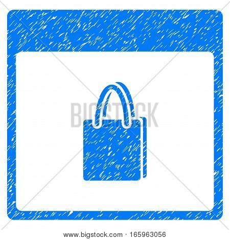Shopping Bag Calendar Page grainy textured icon for overlay watermark stamps. Flat symbol with scratched texture. Dotted vector blue ink rubber seal stamp with grunge design on a white background.