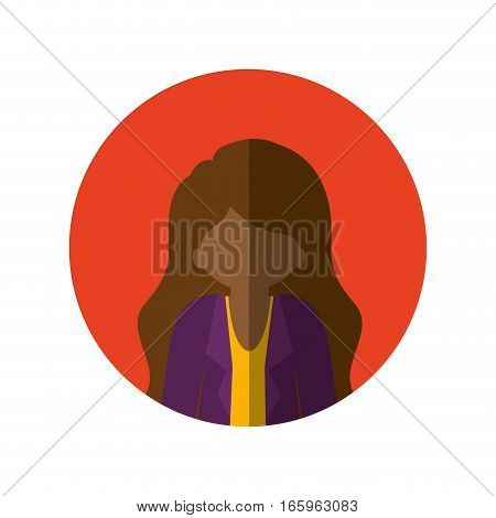circle with half body afro woman with jacket and long hair and middle shadow vector illustration