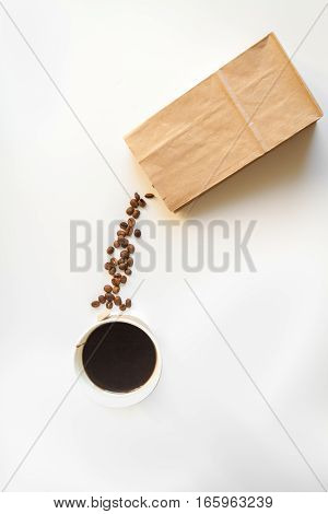 coffee break at white background top view.