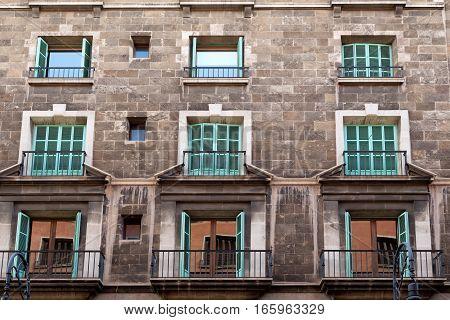 facade of the building with the old quarter of Palma de Mallorca
