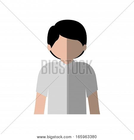 half body man with shirt and middle shadow vector illustration