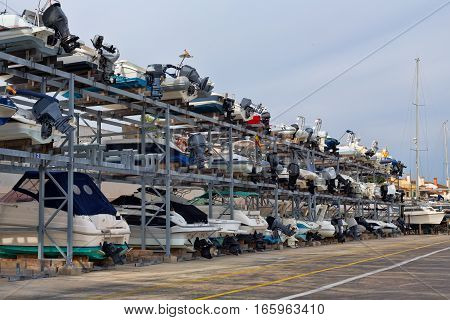 Shelves with boats in the port of Mallorca Spain