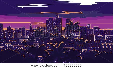 Los Angeles skyline - vector illustration. Big night city.