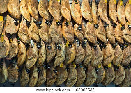 Pork foot jamon in underground storage sausage