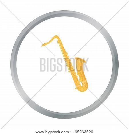 Saxophone icon in cartoon style isolated on white background. Musical instruments symbol vector illustration