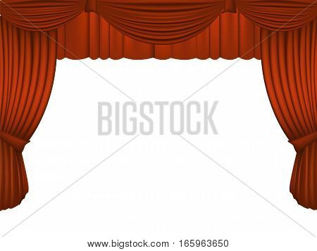 Red Draped Theater. vector illustration background texture.