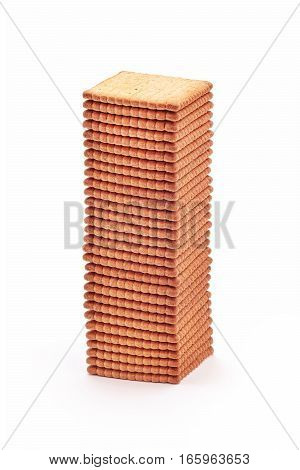 tall stack of biscuit crackers closeup detail