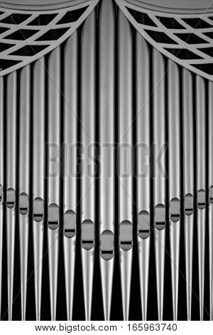 church organ pipe tubes closeup closeup detail