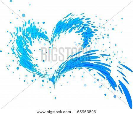 Aqua splash heart on white background, vector illustration
