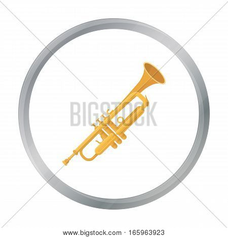 Trumpet icon in cartoon style isolated on white background. Musical instruments symbol vector illustration