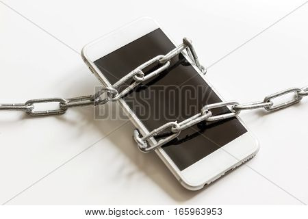 concept smartphone protection on white background close up