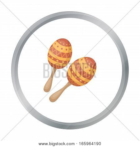 Maracas icon in cartoon style isolated on white background. Musical instruments symbol vector illustration