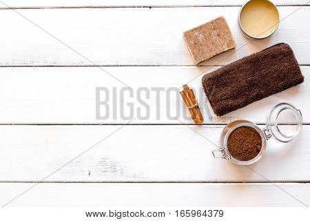 cosmetics for spa on wooden background top view.