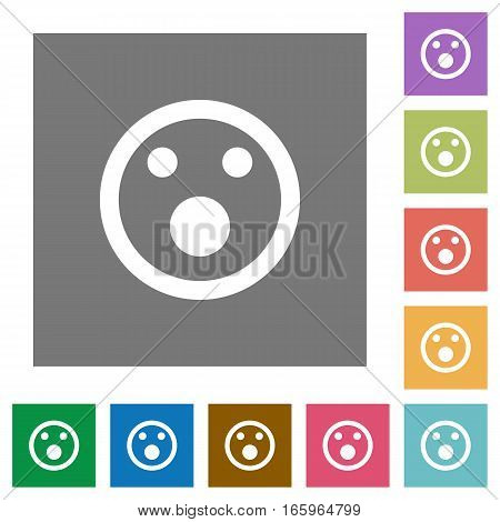 Shocked emoticon flat icons on simple color square backgrounds