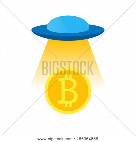 Vector isolated blue ufo volume or flying a spacecraft to the stranger with yellow light from under the bottom of the coin Bitcoins, for decoration and design.
