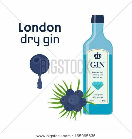 Traditional dry gin in blue bottle juniper berries. Dry gin. Alcohol drink in flat vector style.