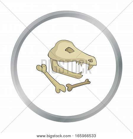 Dinosaur fossils icon in cartoon style isolated on white background. Stone age symbol vector illustration.