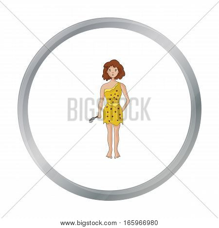 Cavewoman with stone tool icon in cartoon style isolated on white background. Stone age symbol vector illustration.
