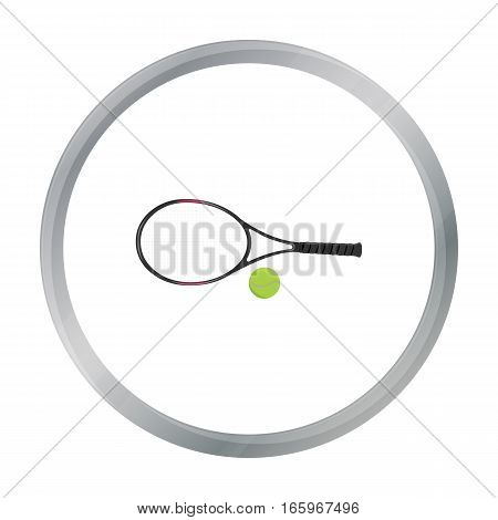 Tennis icon cartoon. Single sport icon from the big fitness, healthy, workout cartoon. - stock vector