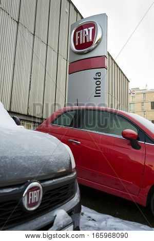 Prague, Czech Republic - January 20: Fiat Company Logo On Car In Front Of Dealership On January 20,