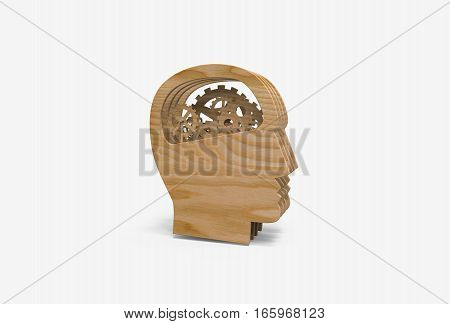 3D rendering illustration of gear in head, thinking process icon. Wooden texture