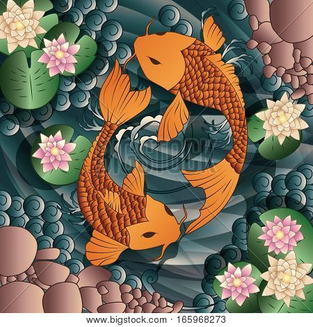 Carp Koi fish swimming in a pond with water lilies vector illustration