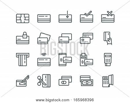 Credit card. Set of outline vector icons.