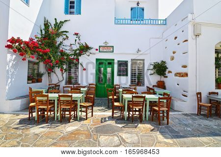 APOLLONIA SIFNOS GREECE, AUGUST 27 2016: traditional tavern at Apollonia Sifnos Greece. Editorial use.