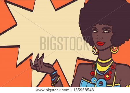 THIS, pop art face. Wonderful sexy african woman with speech bubble. Vector colorful background in pop art retro comic style. Pop art girl. Pop art background.