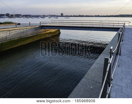 Tidal well at the harbor end of Fan Pier Boulevard in South Boston