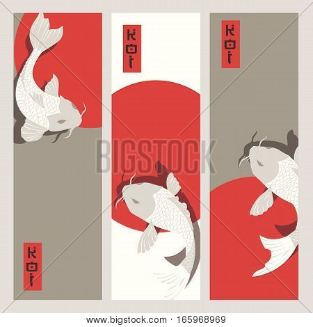 Three vertical banners with carp koi fish swimming around Sun traditional Japanese style vector illustration