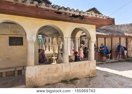 BAKHCHISARAY REPUBLIC of CRIMEA RUSSIA - SEPTEMBER 13.2016: The Karaite kenesa of the XVI and the XVIII century the medieval fortress town Chufut-Kale Crimea Republic Russia