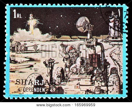 SHARJAH - CIRCA 1972 : Cancelled postage stamp printed by Sharjah, that shows Space exploration.