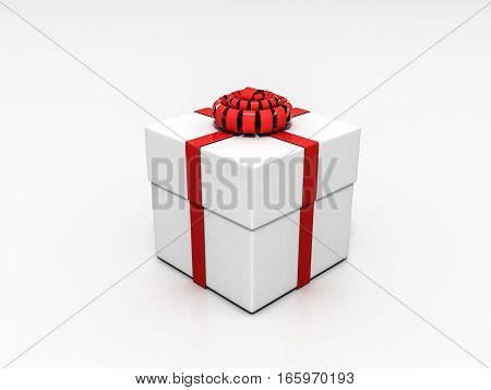 3d render A box tied with a red ribbon on a white background