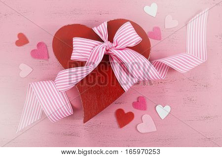 Happy Valentines Day Red Heart Shape Gift Box