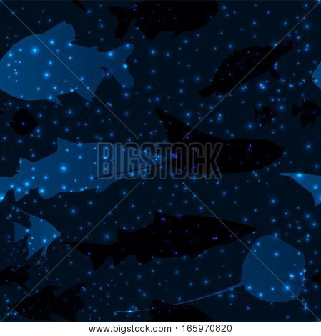 Seamless pattern with beautiful blue fishes like in space among the stars, vector illustration