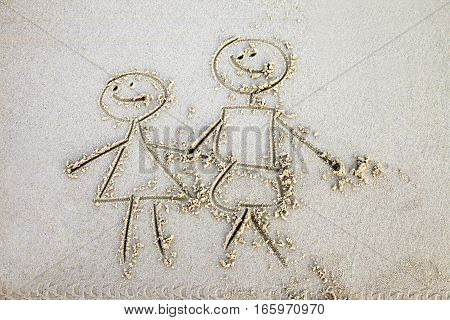 The child has drawn mum and daddy on sand