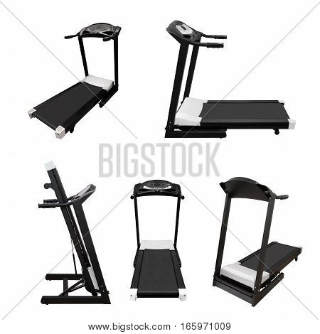 Treadmill fitness equipment isolated on white background
