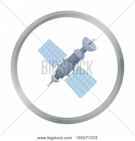 Satellite icon in cartoon style isolated on white background. Space symbol vector illustration.