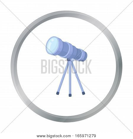 Telescope icon in cartoon style isolated on white background. Space symbol vector illustration.