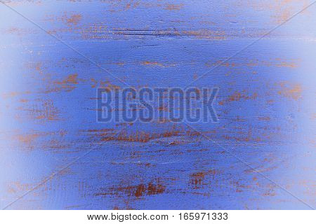 Dark Blue Rustic Wood Background With White Vignette.