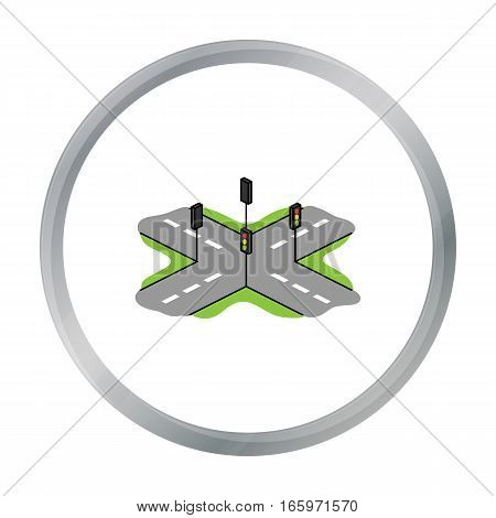 Korean rossroads icon in cartoon style isolated on white background. South Korea symbol vector illustration.
