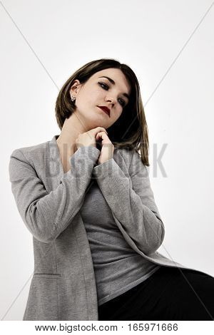 portrait of a perfect beautiful girl on white background
