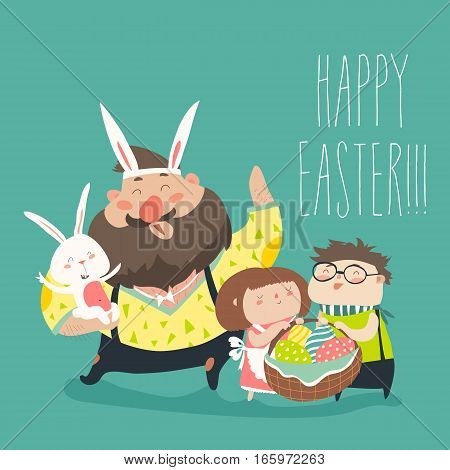 Happy father with kids celebrating Easter. Vector illustration