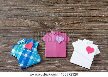 Gift For Father's Day Background, Copy Space. Gift Shirt Origami Paper Heart. Made With His Own Hand