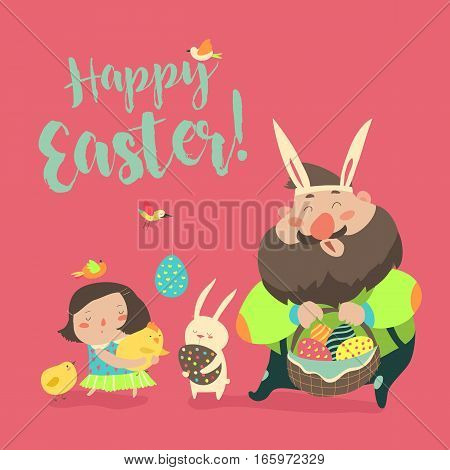 Happy father with daughter celebrating Easter. Vector illustration