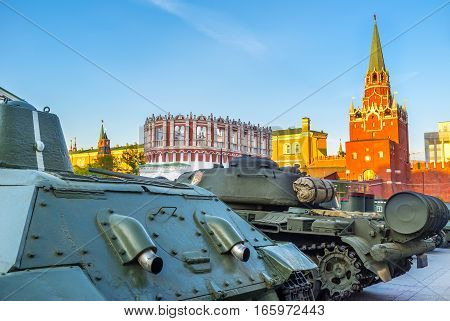 The old tanks at walls of Moscow Kremlin during the celebration of the Victory Day Moscow Russia.