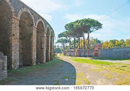 The Square Of Amphitheater In Pompeii